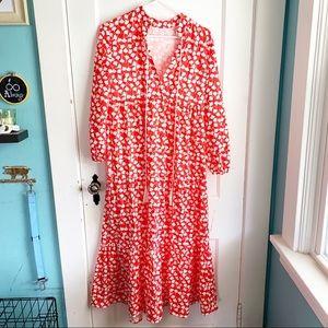 Ginkgo Leaf Red + White Tiered Maxi Dress Tassel M